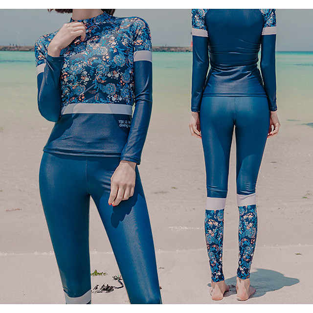Women's Rash Guard Dive Skin Suit Diving Suit UV Sun Protection Anatomic Design Full Body Front Zip 3-Piece - Diving Water Sports Painting Summer / Micro-elastic