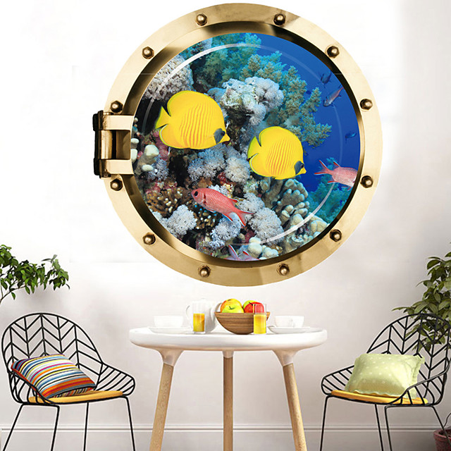 Deep Sea Yellow Croaker Wall Sticker Multicolor Flat Removable Underwater World 3D PVC Wallpaper Home Decorations
