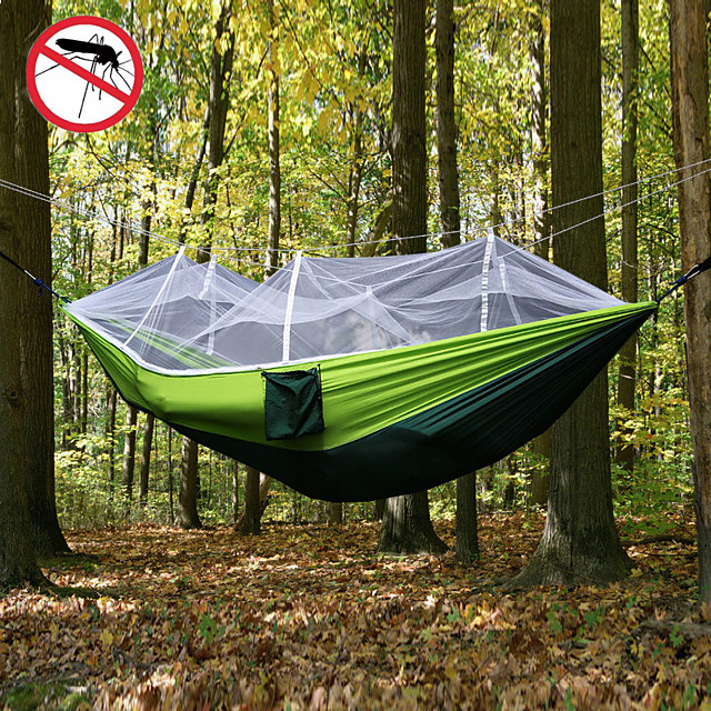 Camping Hammock with Mosquito Net Double Hammock Outdoor Ultra Light Portable Breathable Anti-Mosquito Parachute Nylon with Carabiners and Tree Straps 2 person Camping Hiking Hunting Army Green