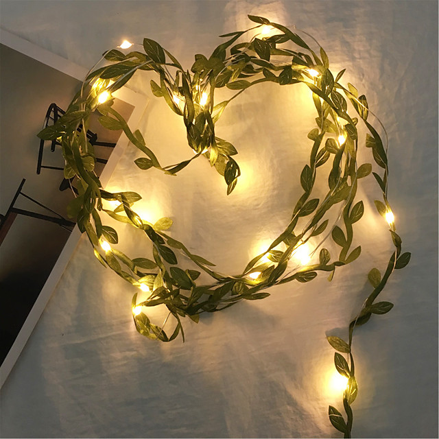 1X 2M 20Leds Fairy Leaf String Light Warm White Flexible Holiday Lights Copper Wire String Lamp For Wedding Party DIY Decoration (come with out battery)