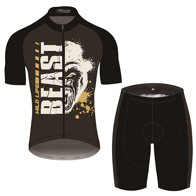 21Grams Men's Short Sleeve Cycling Jersey with Shorts Black / White Animal Bike Clothing Suit UV Resistant Breathable 3D Pad Quick Dry Sweat-wicking Sports Patterned Mountain Bike MTB Road Bike