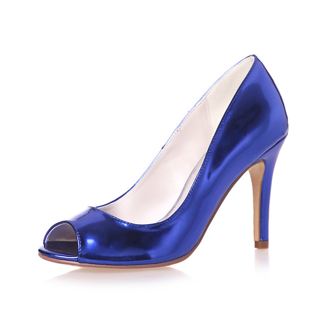 Women's Wedding Shoes Stiletto Heel Peep Toe Patent Leather Minimalism Spring & Summer Gold / Royal Blue / Silver / Party & Evening