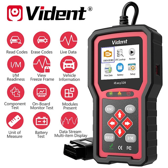 VIDENT iEasy320 OBDII/EOBD+CAN Code Reader Works with Most 1996 and Newer OBDII& CAN Compliant Cars