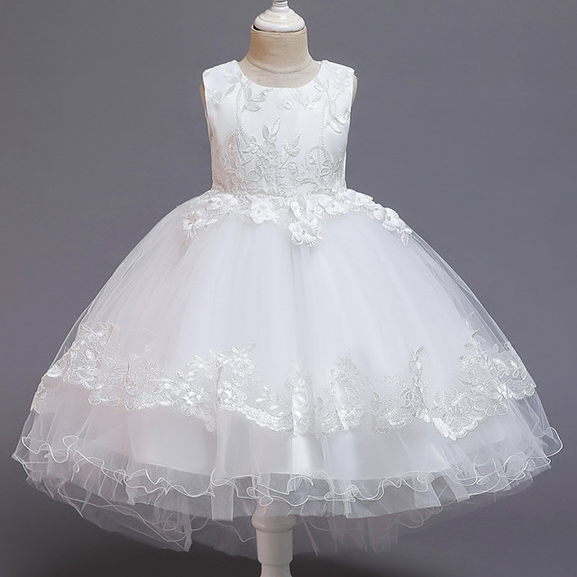 Princess Dress Flower Girl Dress Girls' Movie Cosplay A-Line Slip Cosplay Red / Pink / White Dress Halloween Carnival Masquerade Tulle Polyester