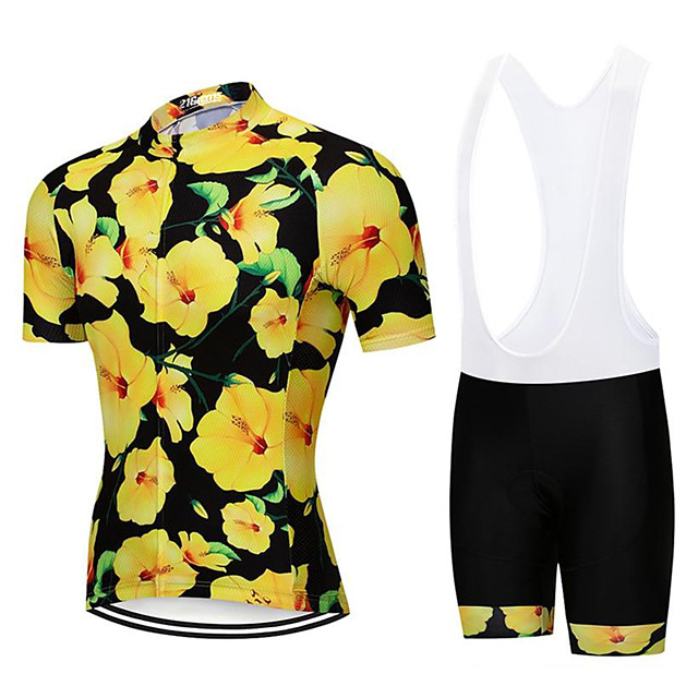 21Grams Men's Short Sleeve Cycling Jersey with Bib Shorts Polyester Spandex Green / Yellow Floral Botanical Bike Clothing Suit UV Resistant Breathable 3D Pad Quick Dry Sweat-wicking Sports Patterned