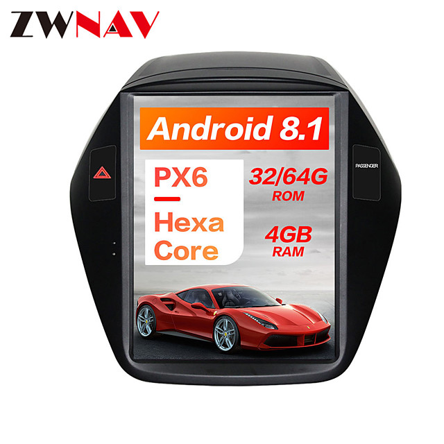ZWNAV 10.4inch 1din Android 8.1 Tesla style Car DVD Player GPS Navigation radio tape recorder stereo car multimedia player Car MP5 Player IPS CAN For Hyundai IX35 2009-2016