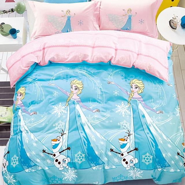 Duvet Cover Sets 3 Piece Linen / Cotton Cartoon Sky Blue Printed Dainty