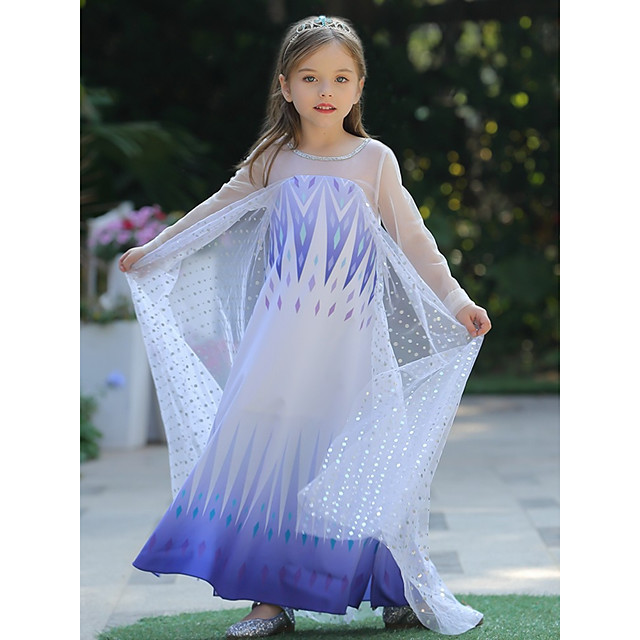 Princess Elsa Dress Flower Girl Dress Girls' Movie Cosplay A-Line Slip Halloween Christmas White Dress Christmas Halloween