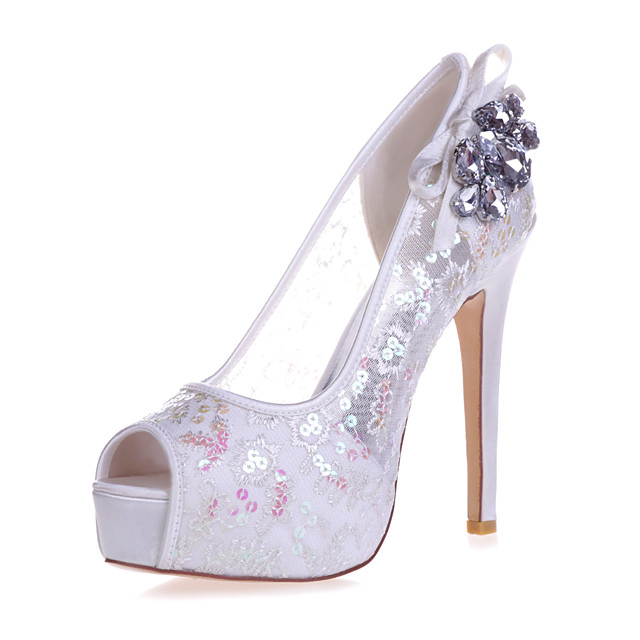 Women's Wedding Shoes Stiletto Heel Peep Toe Rhinestone / Bowknot Lace Sweet Spring & Summer White / Red / Ivory / Party & Evening
