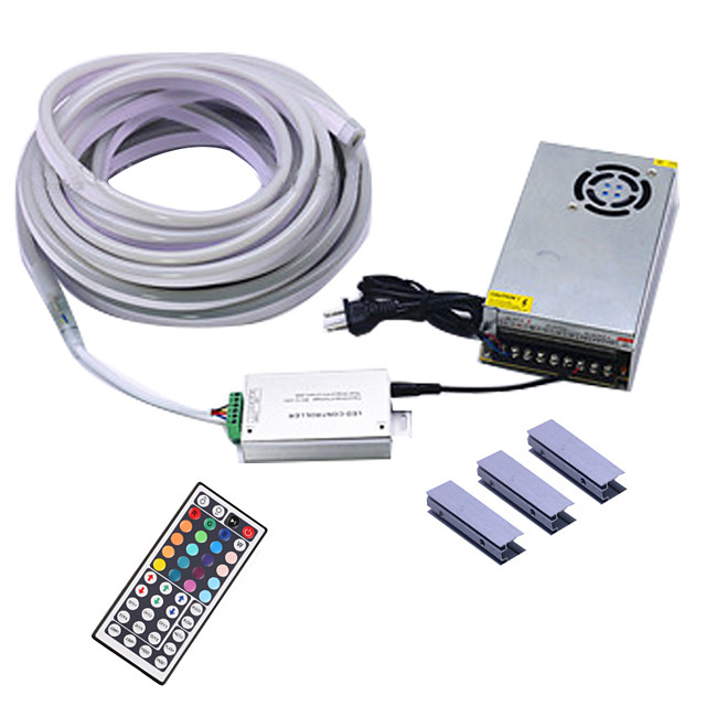 3m Flexible LED Light Strips / Light Sets / Neon Strip Lights 180 LEDs SMD5050 10mm 1 44Keys Remote Controller / 1Set Mounting Bracket / 1 X 12V 3A Power Supply 1 set Multi Color Waterproof