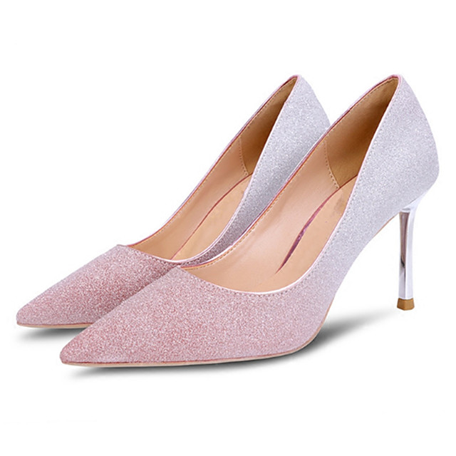 Women's Wedding Shoes Crystal Sandals Stiletto Heel Pointed Toe Sequin Synthetics Sweet Walking Shoes Spring &  Fall / Spring & Summer Pink / Gold / Gray / Party & Evening / Color Block
