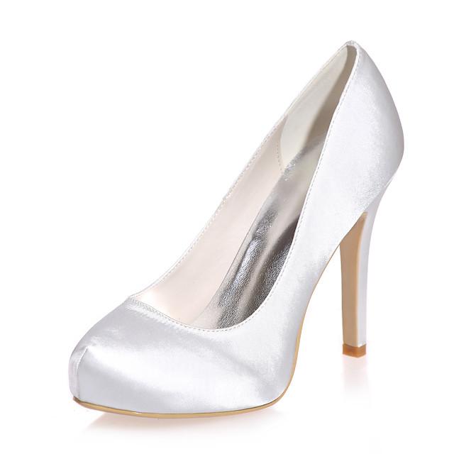 Women's Wedding Shoes Stiletto Heel Round Toe Satin Minimalism Fall / Spring & Summer Black / White / Purple / Party & Evening