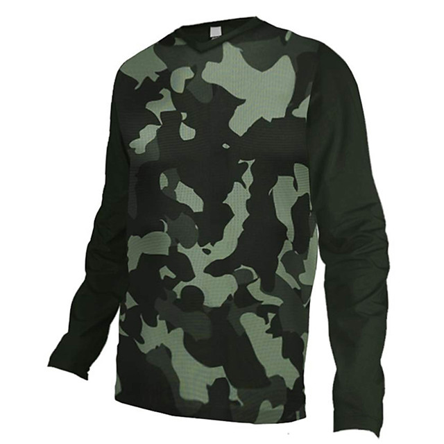 21Grams Men's Long Sleeve Cycling Jersey Downhill Jersey Dirt Bike Jersey Polyester Spandex Camouflage Camo / Camouflage Bike Jersey Top Mountain Bike MTB Road Bike Cycling UV Resistant Breathable
