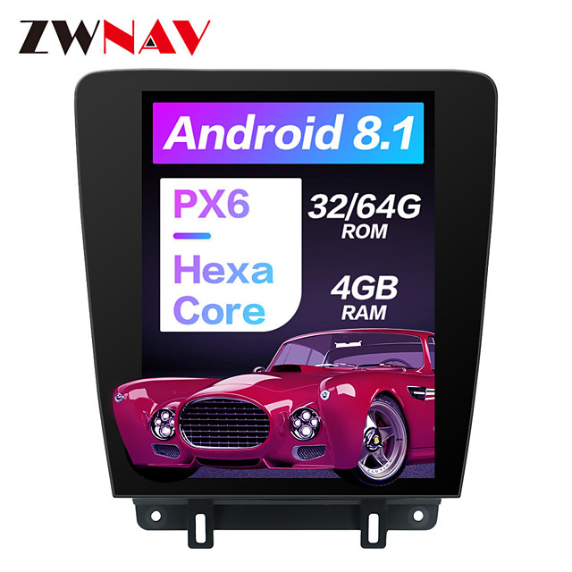 ZWNAV 12.1 inch 1din Tesla Style Android 8.1 Car Stereo 4GB 64GB Car GPS Navigation Car Multimedia Player Carplay Steering Wheel Control Bluetooth Voice Control WiFi for Ford Mustang 2010-2014