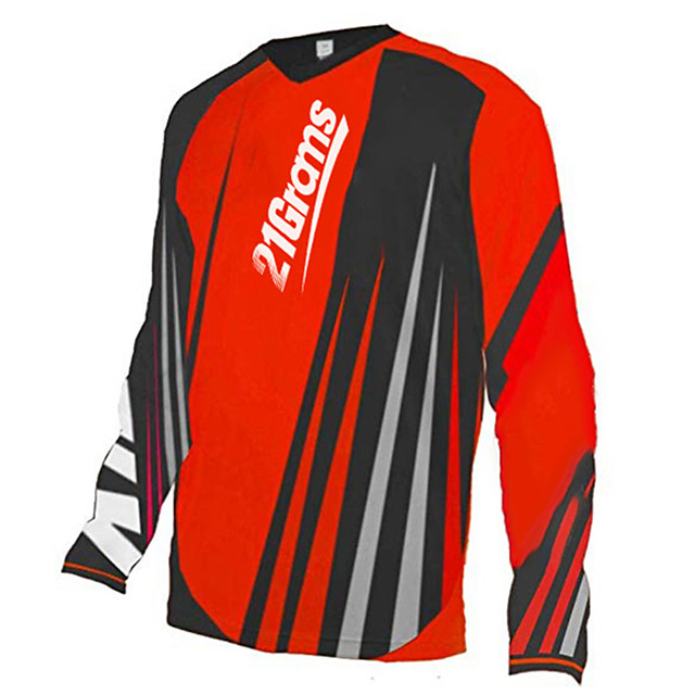 21Grams Men's Long Sleeve Cycling Jersey Downhill Jersey Dirt Bike Jersey Polyester Spandex Yellow Red White Stripes Bike Jersey Top Mountain Bike MTB Road Bike Cycling UV Resistant Breathable Quick