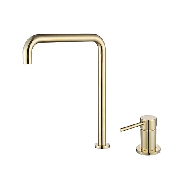 Bathroom Sink Faucet - Black / Chrome / Brushed Gold / Rose Gold Finish Single Handle Dual Holes Basin Sink Mixer Tap Washroom Faucet Modern Luxury