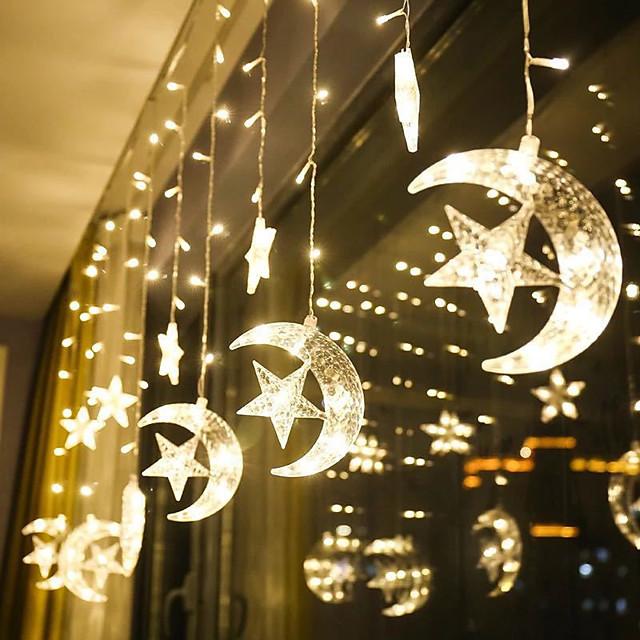 1pcs Moon Star Curtain Lamp LED Lamp String Christmas Lights Decoration Holiday Lights Curtain Lamp Wedding Neon Lantern Fairy Light