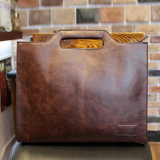 Men's Zipper PU Top Handle Bag Solid Color Brown