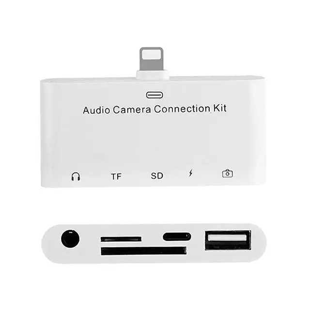 IG-5 in 1 8Pin to SD Camera Adapter USB OTG 3.5mm Audio Jack TF SD Micro-Reader Connection Kit for iPhone iPad