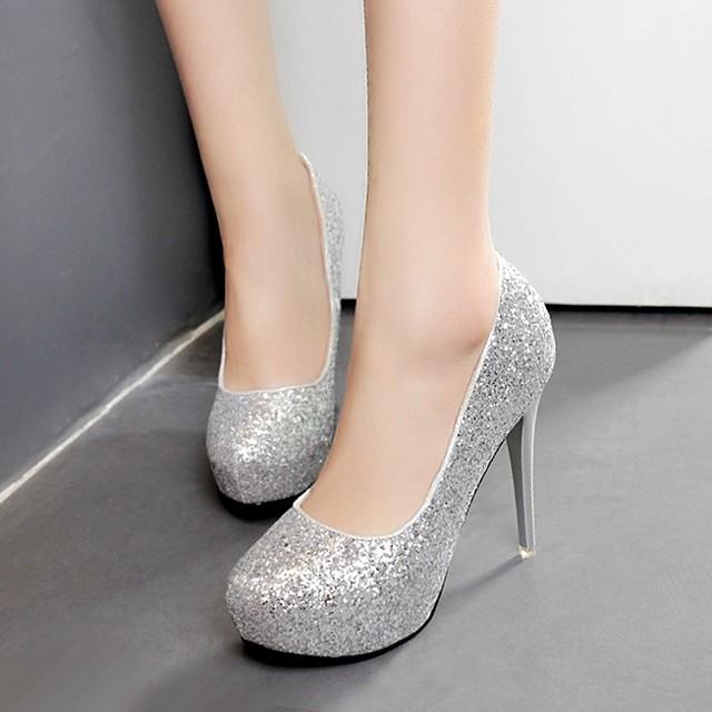 Women's Wedding Shoes Stiletto Heel Round Toe Sequin PU Spring & Summer White / Champagne / Silver