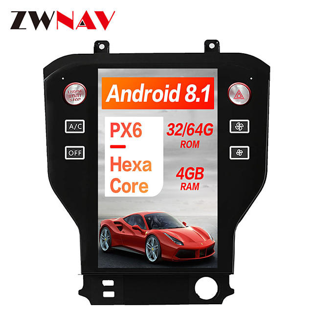 ZWNAV 11.8 inch 1DIN PX6 4GB 64GB Tesla style Android 8.1 Car GPS Navigation In-Dash Car DVD Player Car multimedia player For Ford Mustang 2015