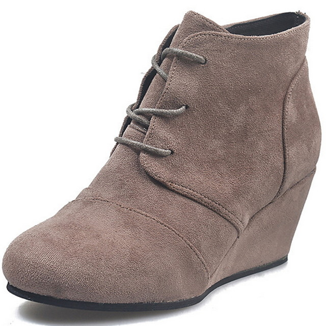 Women's Boots Wedge Heel Round Toe Suede Booties / Ankle Boots Fall & Winter Black / Brown / Gray