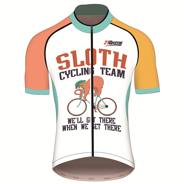 21Grams Men's Short Sleeve Cycling Jersey Polyester Spandex Orange+White Animal Sloth Bike Jersey Top Mountain Bike MTB Road Bike Cycling UV Resistant Breathable Quick Dry Sports Clothing Apparel