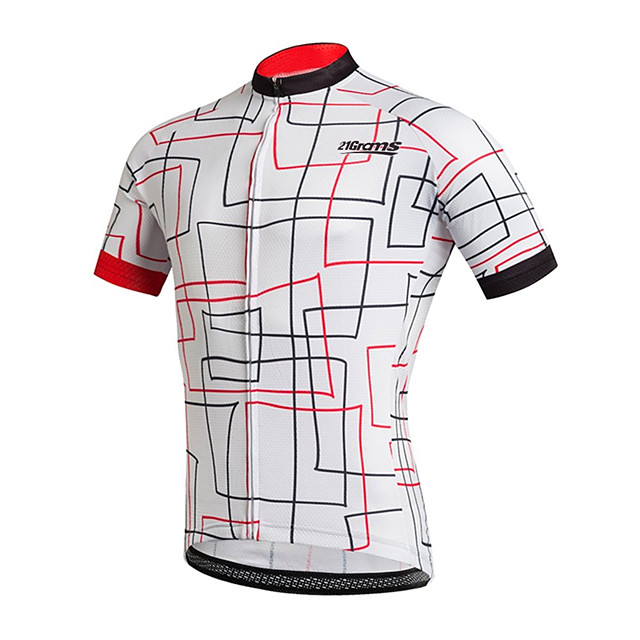 21Grams Men's Short Sleeve Cycling Jersey Black / White Stripes Bike Jersey Top Mountain Bike MTB Road Bike Cycling UV Resistant Breathable Quick Dry Sports Clothing Apparel / Stretchy / Race Fit