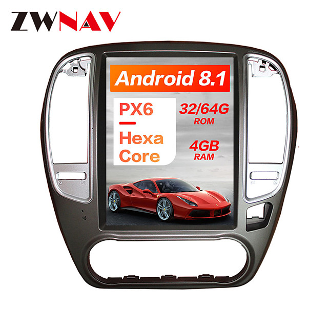 ZWNAV 10.4Inch 1DIN 4GB 64GB Android 8.1 PX6 DSP Tesla Type Car DVD Player GPS Navigation Car multimedia player tape recorder For NISSAN SYLPHY 2005-2012