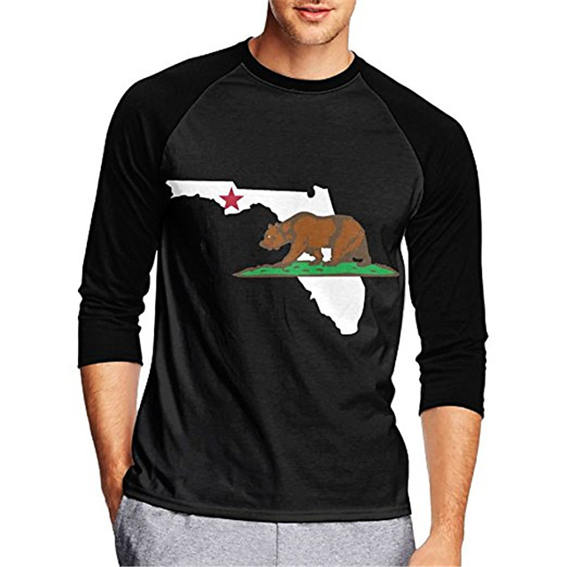 21Grams Men's Long Sleeve Cycling Jersey Downhill Jersey Dirt Bike Jersey Black Animal Bear California Republic Bike Jersey Top Mountain Bike MTB Road Bike Cycling UV Resistant Breathable Quick Dry