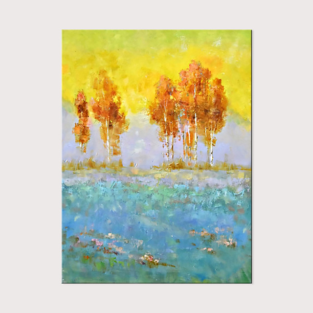 Warm Color Gold Canvas Acrylic Oil Painting Modern Abstract  Beautiful Mountain Scenery Wall Art Pictures for Living Room Home Decor