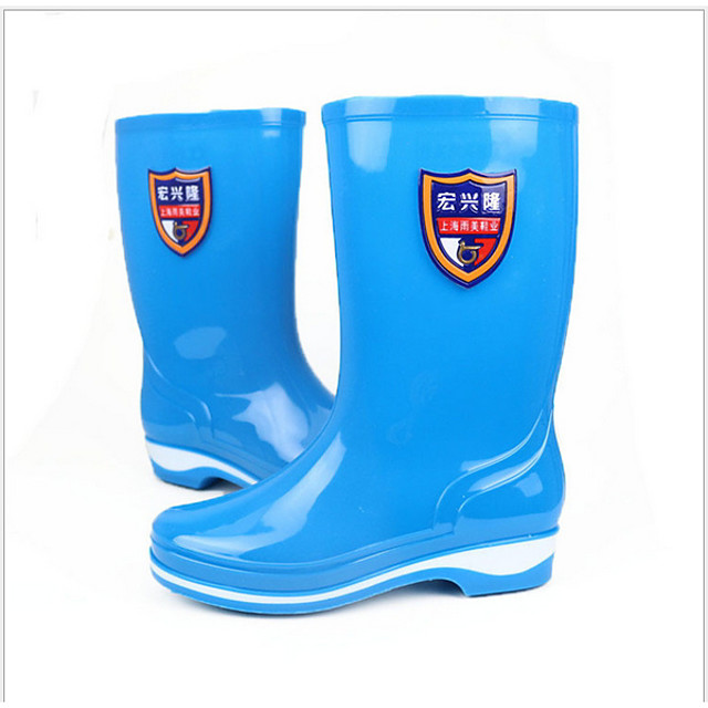 Women's Boots Flat Heel Round Toe PVC Mid-Calf Boots Spring & Summer / Fall & Winter Blue