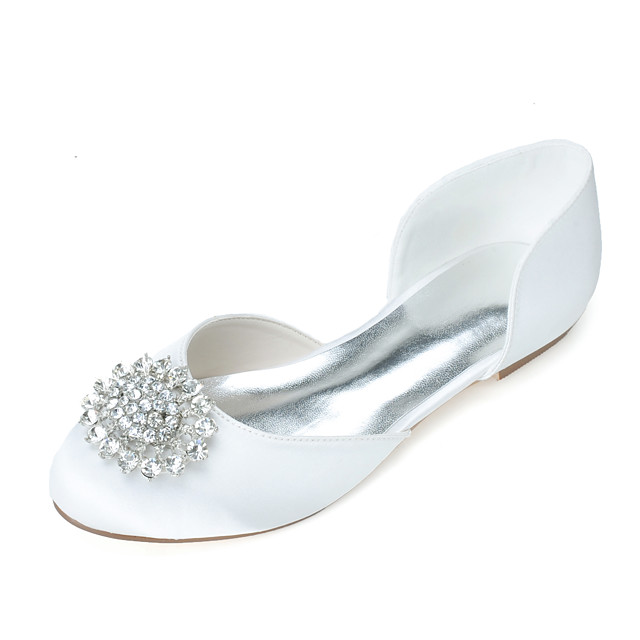 Women's Wedding Shoes Flat Heel Round Toe Rhinestone Satin Sweet Fall / Spring & Summer White / Purple / Red / Party & Evening