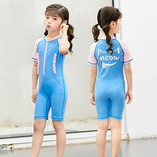 Girls' Rash Guard Dive Skin Suit Elastane Swimwear UV Sun Protection Breathable Quick Dry Short Sleeve Front Zip - Swimming Water Sports Patchwork Summer / High Elasticity / Kid's