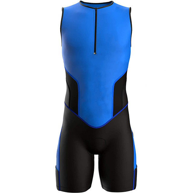 21Grams Men's Sleeveless Triathlon Tri Suit Spandex Polyester Black / Blue Geometic Bike Clothing Suit UV Resistant Breathable 3D Pad Quick Dry Sweat-wicking Sports Solid Color Mountain Bike MTB Road