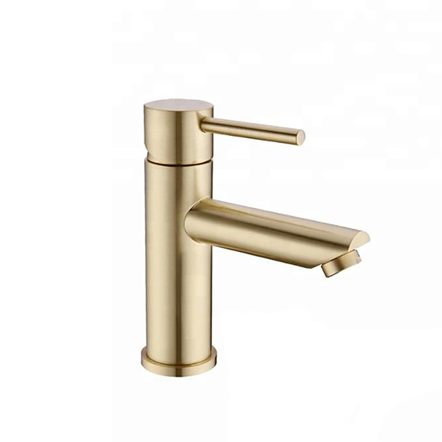 Bathroom Sink Faucet - Brushed Gold Finish Single Handle One Hole Bathroom Basin Faucet Lavatory Bath Mixer Tap