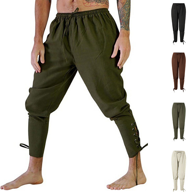 Men's Yoga Pants Harem Solid Color Brown Army Green Beige Running Fitness Gym Workout Bottoms Sport Activewear Breathable Soft Stretchy