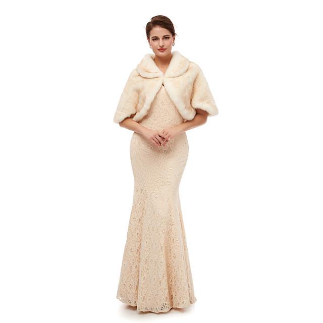 Half Sleeve Shawls Faux Fur Wedding Women's Wrap With Solid