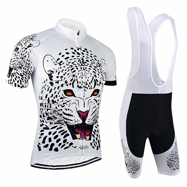 21Grams Men's Short Sleeve Cycling Jersey with Bib Shorts Black / White Animal Tiger Bike Clothing Suit UV Resistant Breathable 3D Pad Quick Dry Sweat-wicking Sports Solid Color Mountain Bike MTB