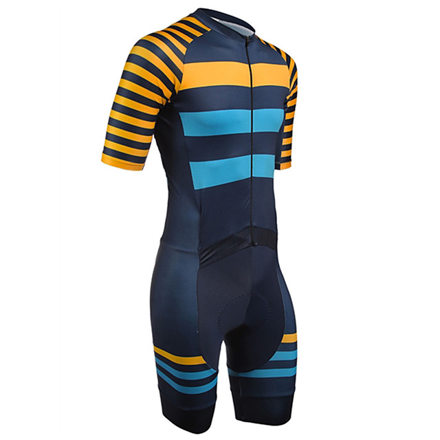 21Grams Men's Short Sleeve Triathlon Tri Suit Polyester Spandex Blue+Orange Stripes Geometic Bike Clothing Suit UV Resistant Breathable 3D Pad Quick Dry Sweat-wicking Sports Solid Color Mountain Bike