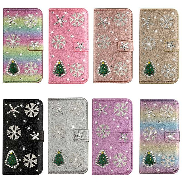 Case For iPhone SE(2020) iPhone 11 Pro Max iPhone Xs Max Wallet / Card Holder / with Stand Glitter Shine Christmas Tree PU Leather Case For iPhone 7 8 iPhone 7 Plus 8 Plus XR X XS iPhone Se 5S