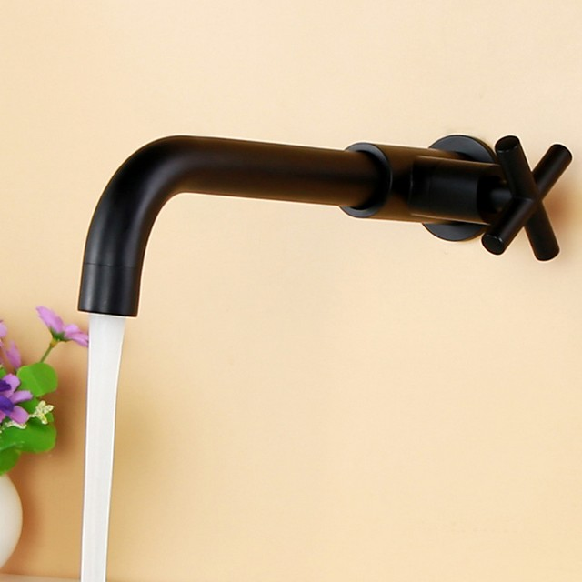 Bathroom Sink Faucet - Wall Mount Electroplated Wall Installation Single Handle One HoleBath Taps