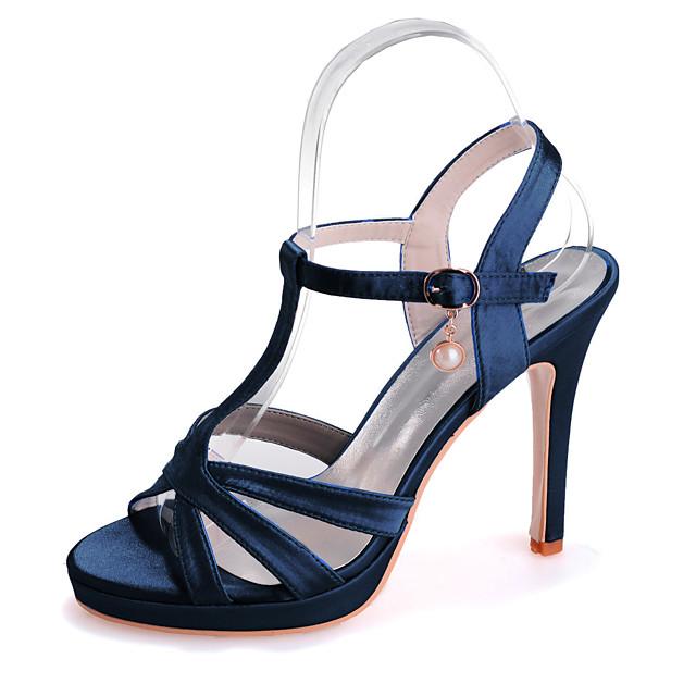 Women's Wedding Shoes Stiletto Heel Open Toe Imitation Pearl Satin Classic Spring & Summer Black / White / Purple / Party & Evening