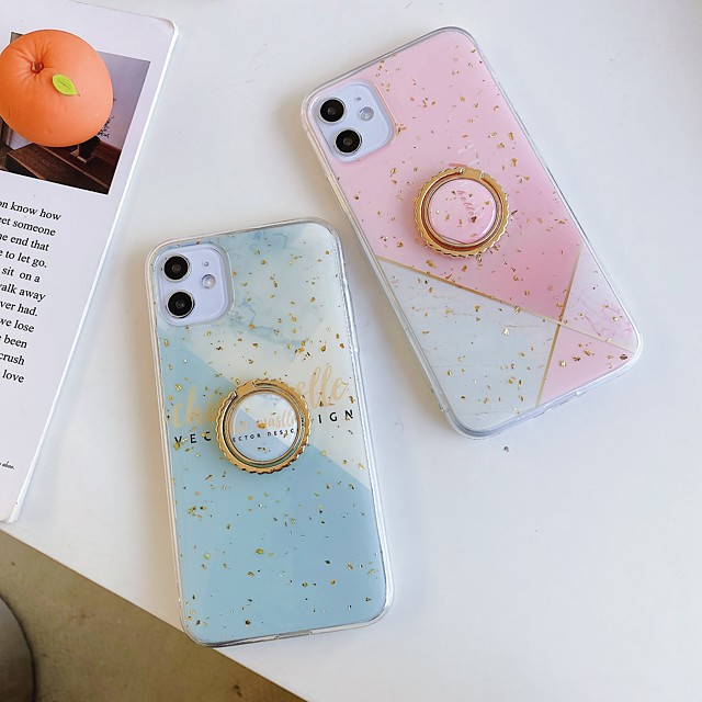 Case For Apple iPhone 11 / iPhone 11 Pro / iPhone 11 Pro Max Ring Holder / Pattern / Glitter Shine Back Cover Geometric Pattern / Glitter Shine / Marble TPU