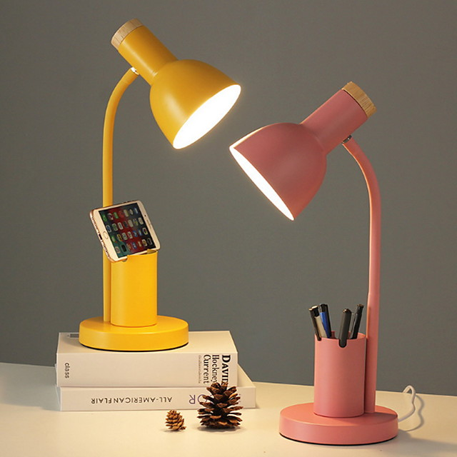 Nordic Style Desk Lamp Indoor Reading Light Metal Adjustable 90-240V Multifunction lamp with Pen Holder Yellow Desk Lamp Blush Pink Lamp Grass-green Lamp