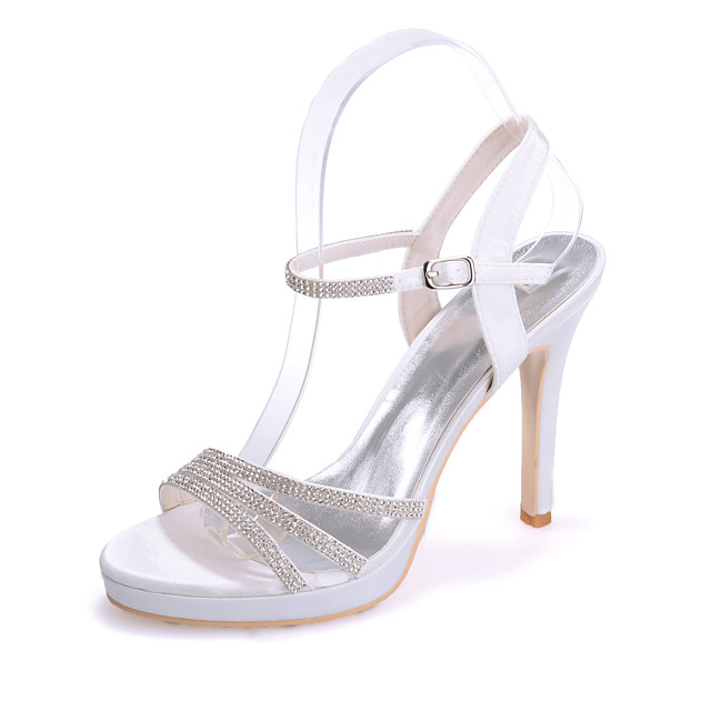 Women's Wedding Shoes Stiletto Heel Open Toe Sparkling Glitter Satin Sweet Spring & Summer White / Purple / Red / Party & Evening