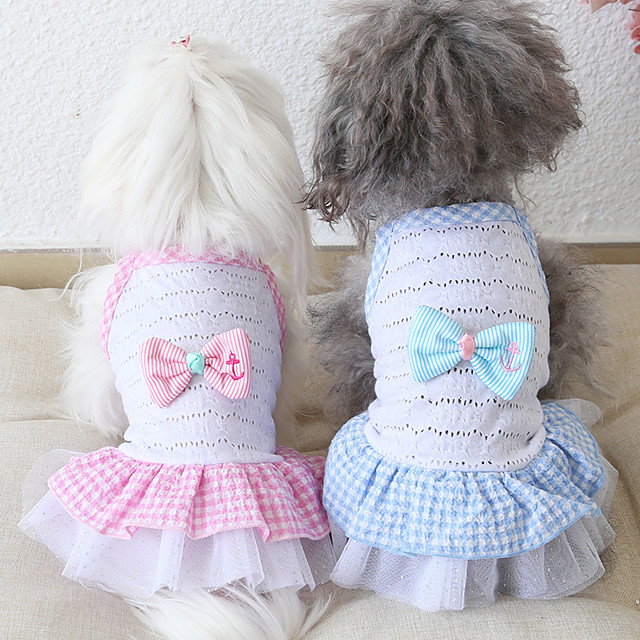 Dog Costume Dress Dog Clothes Breathable Red Pink Blue Costume Beagle Bichon Frise Chihuahua Fabric Voiles & Sheers Plaid / Check Bowknot Casual / Sporty Cute XS S M L XL