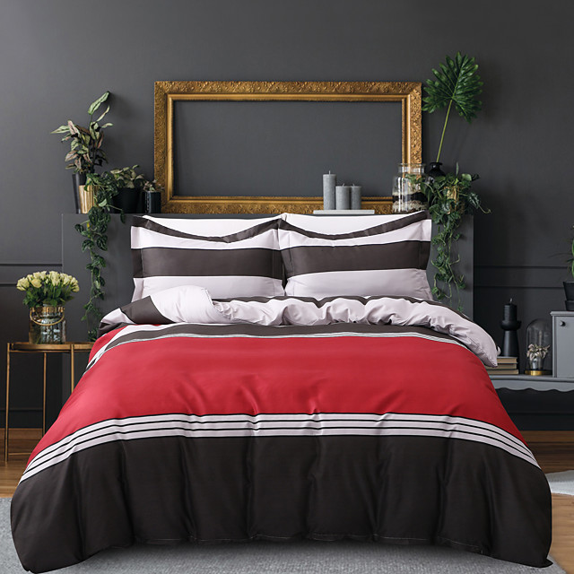 Duvet Cover Sets 3 Piece Rayon / Polyester Stripes / Ripples Burgundy Printed Simple / >800 / 3pcs (1 Duvet Cover, 2 Shams)