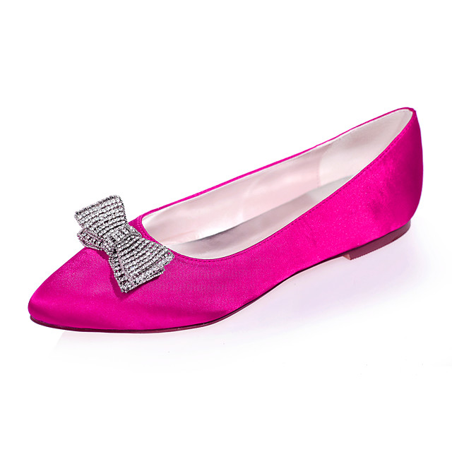 Women's Wedding Shoes Flat Heel Pointed Toe Rhinestone / Bowknot Satin Sweet Fall / Spring & Summer Black / White / Purple / Party & Evening