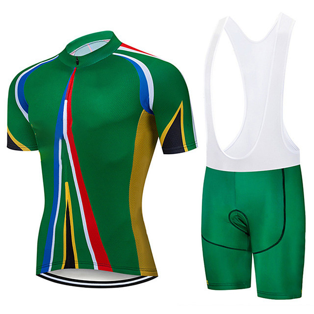 21Grams Men's Short Sleeve Cycling Jersey with Bib Shorts Spandex Polyester Green Stripes Bike Clothing Suit UV Resistant Breathable 3D Pad Quick Dry Sweat-wicking Sports Solid Color Mountain Bike